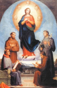 Blessed John and other saints of the Franciscan Order, gathered around Our Lady