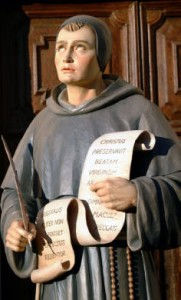 Blessed John Duns Scotus, hold-ing a scroll with a paraphrase of his doctrine about how the Immaculate Conception ties in with the absolute primacy of Christ: ?Christ preserved the Blessed Virgin from every stain of sin; otherwise He would not have been Perfect Redeemer.?