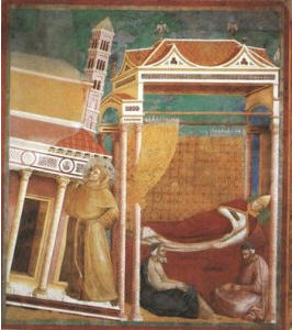 The Pope Honorius' III dream of St Francis holding up the Lateran Basilica