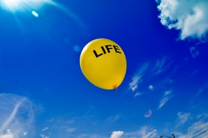 "Balloon with ""life"" written on it"